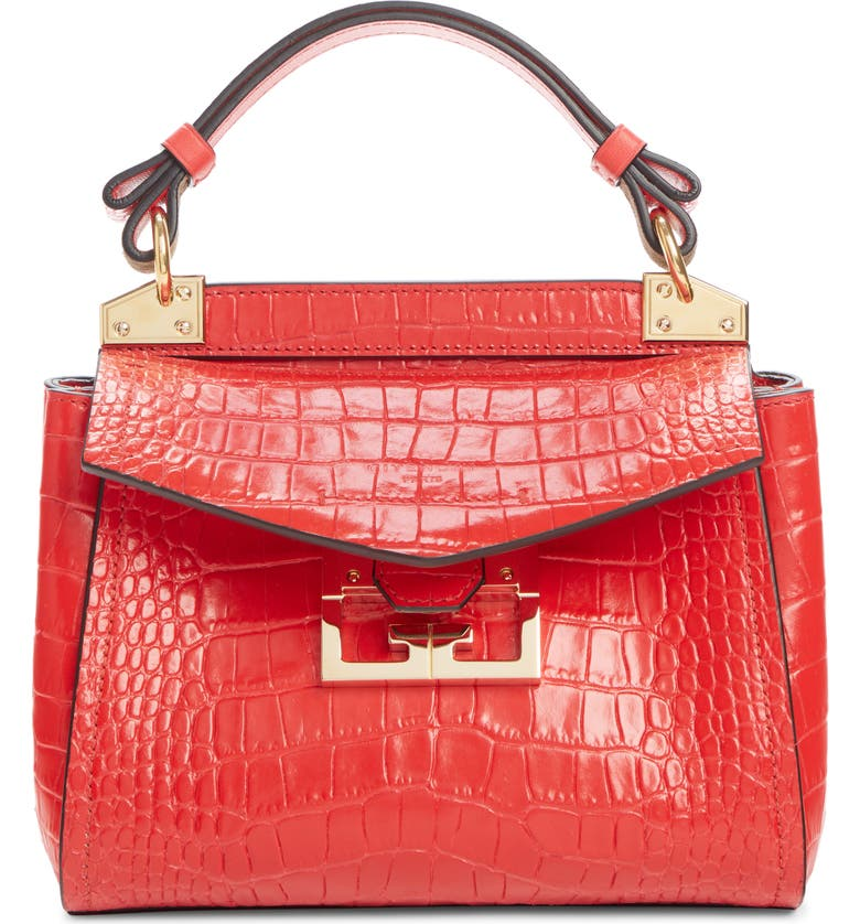 GIVENCHY Mini Mystic Croc Embossed Leather Satchel, Main, color, RED