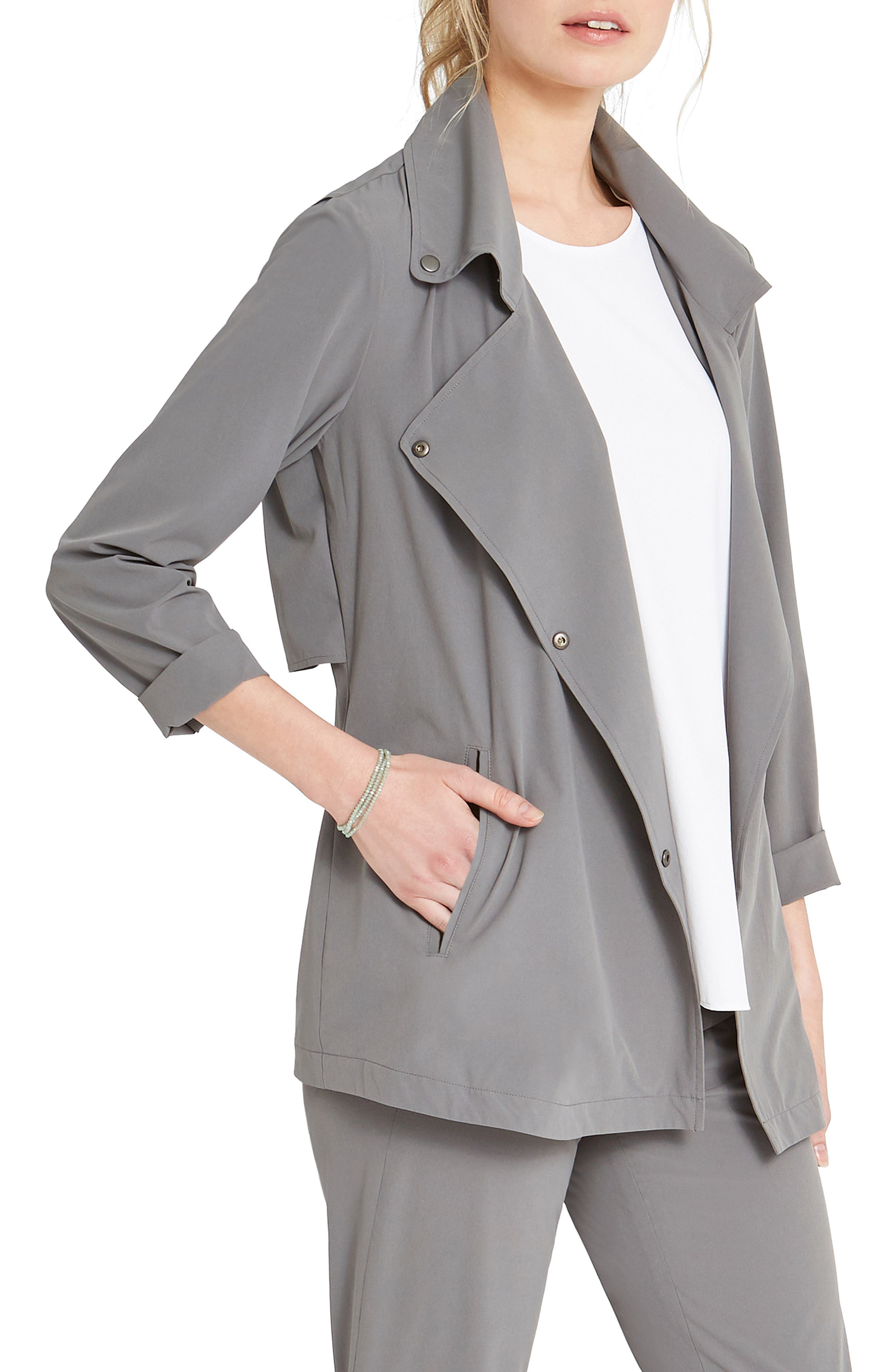 A casual jacket with trench details is cut from a tech fabric that has it all: four-way stretch, wrinkle-resistance, moisture-wicking comfort and a silky feel. Another feel-good factor: it was produced with a low environmental impact. Style Name: Nic+Zoe Tech Stretch Jacket. Style Number: 6098690. Available in stores.