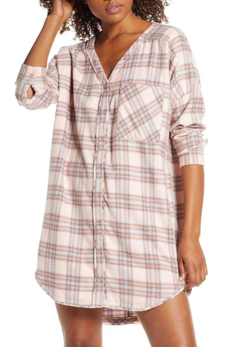 BP. Check Flannel Nightshirt, Main, color, PINK SEASHELL LINDY PLAID