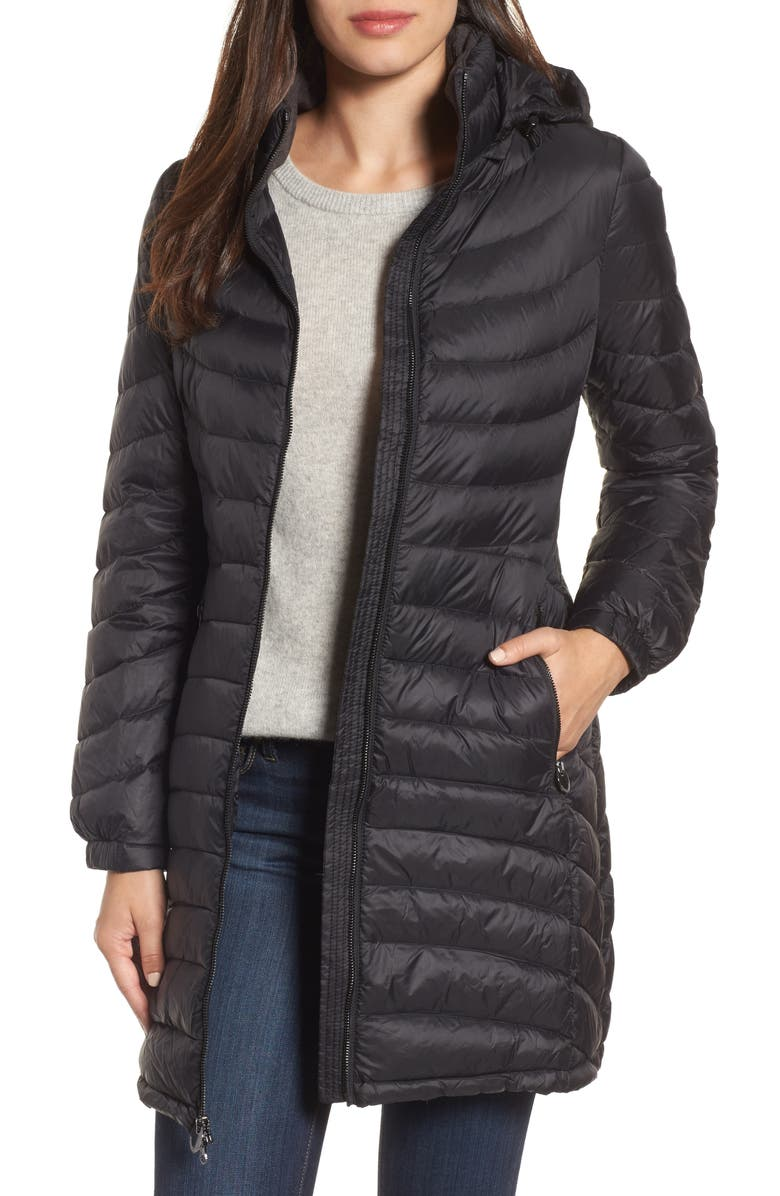 MICHAEL MICHAEL KORS Hooded Down Coat, Main, color, 001