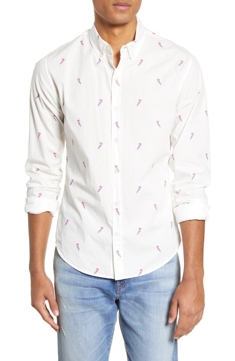 BONOBOS Slim Fit Bird Print Button-Down Shirt, Main, color, 100