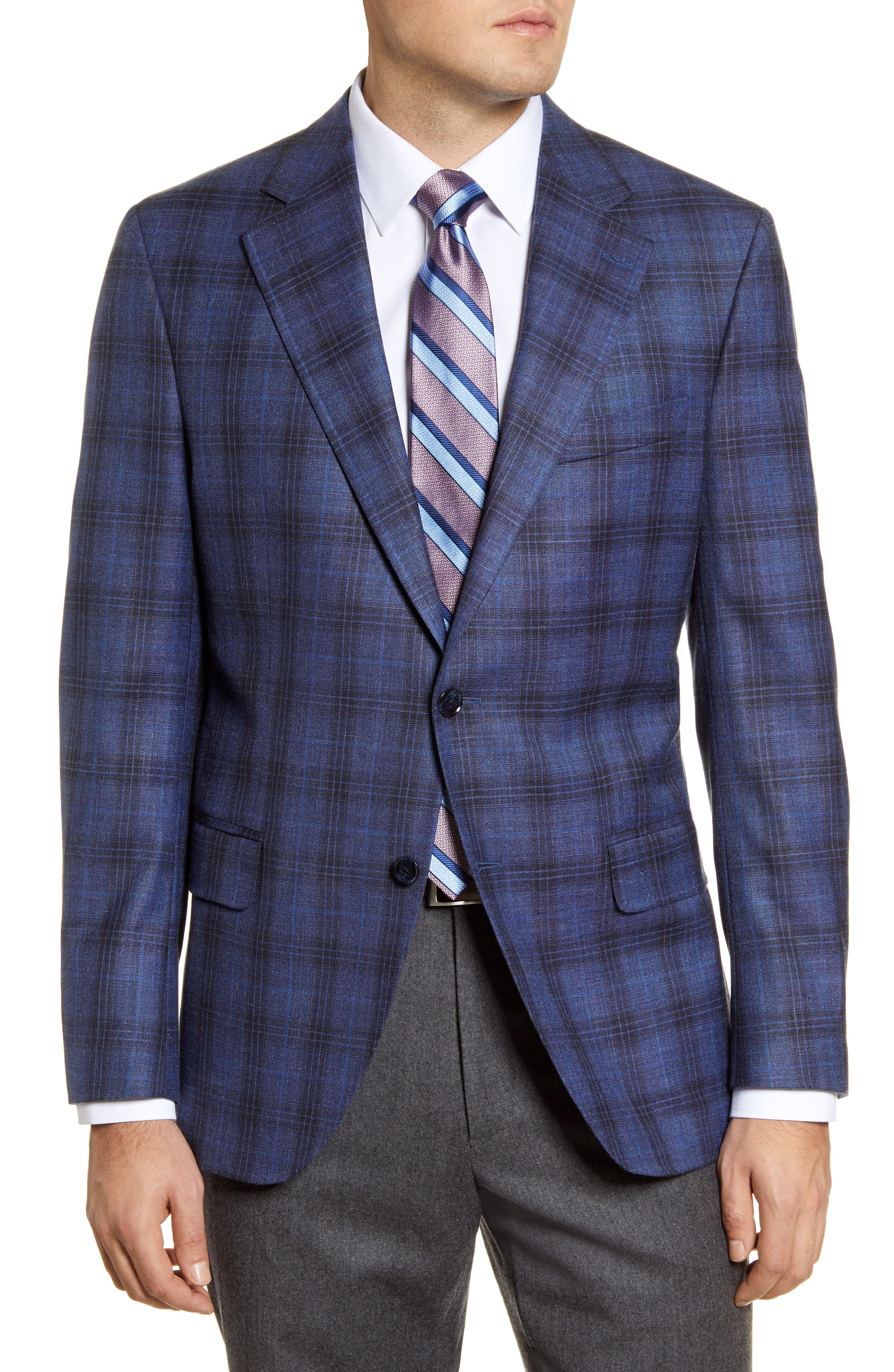 Image of Peter Millar Classic Fit Plaid Stretch Wool Blend Sport Coat