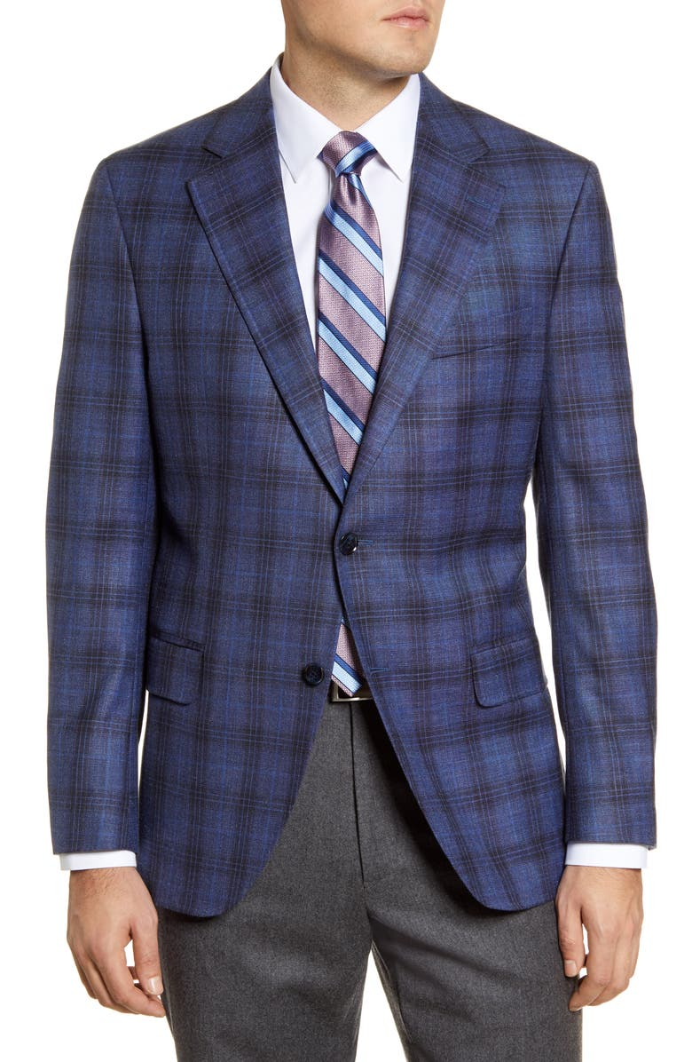 PETER MILLAR Classic Fit Plaid Stretch Wool Blend Sport Coat, Main, color, NAVY