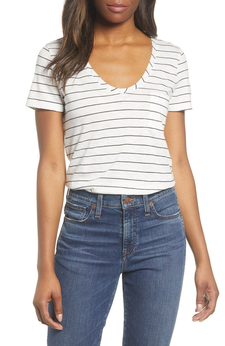CASLON<SUP>®</SUP> Rounded V-Neck T-Shirt, Main, color, IVORY- BLACK LAUREN STRIPE