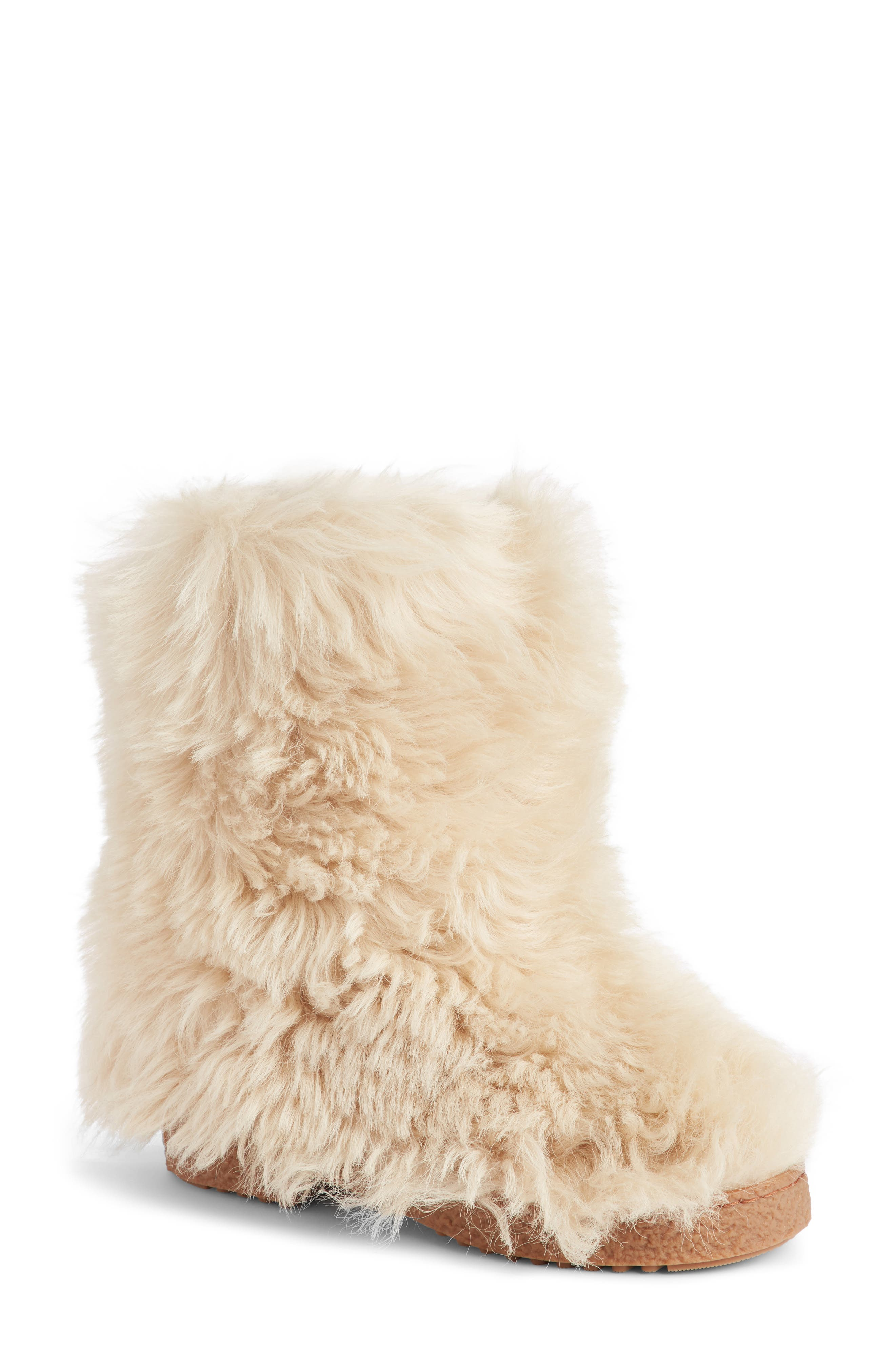 Saint Laurent Genuine Shearling Boot, Beige