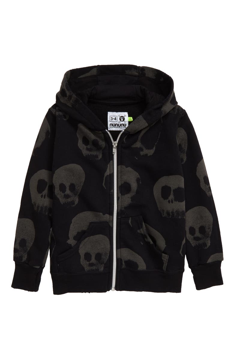 NUNUNU Water Skull Front Zip Hooded Sweatshirt, Main, color, BLACK