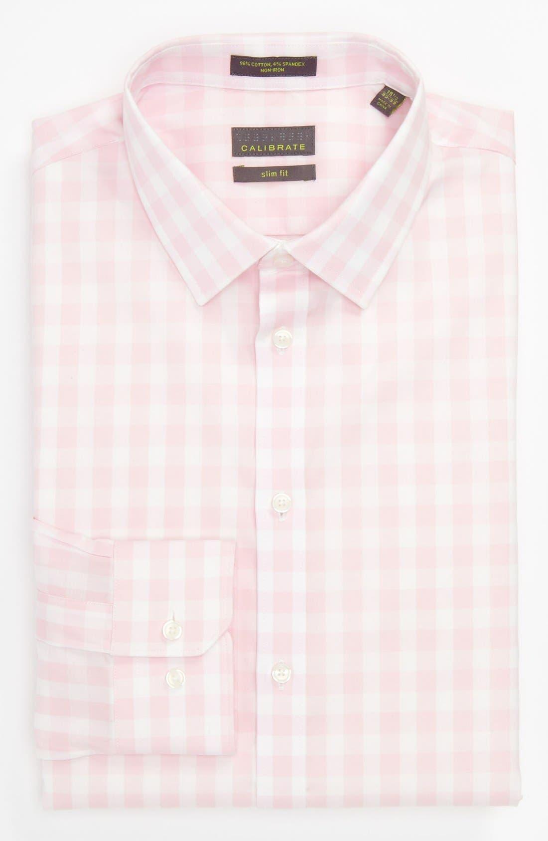 ,                             Slim Fit Non Iron Gingham Dress Shirt,                             Main thumbnail 25, color,                             650