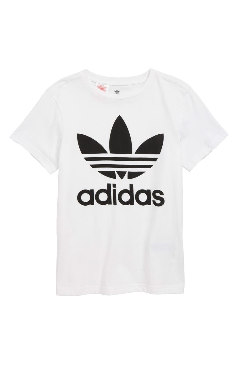 ADIDAS ORIGINALS Trefoil Graphic T-Shirt, Main, color, WHITE/ BLACK
