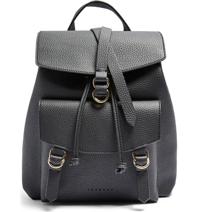 TOPSHOP Brit Faux Leather Backpack, Main, color, 001