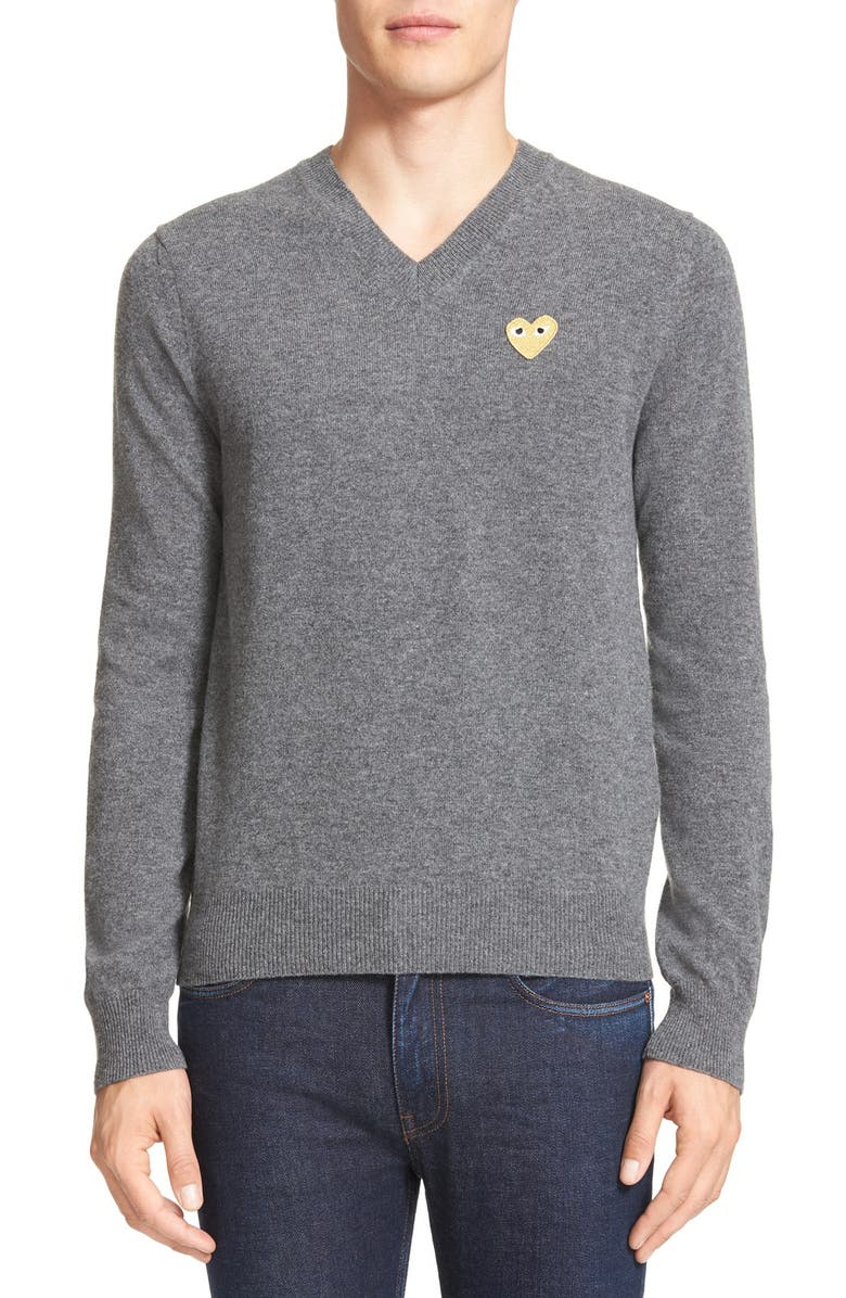 COMME DES GARÇONS PLAY Wool Pullover, Main, color, GREY