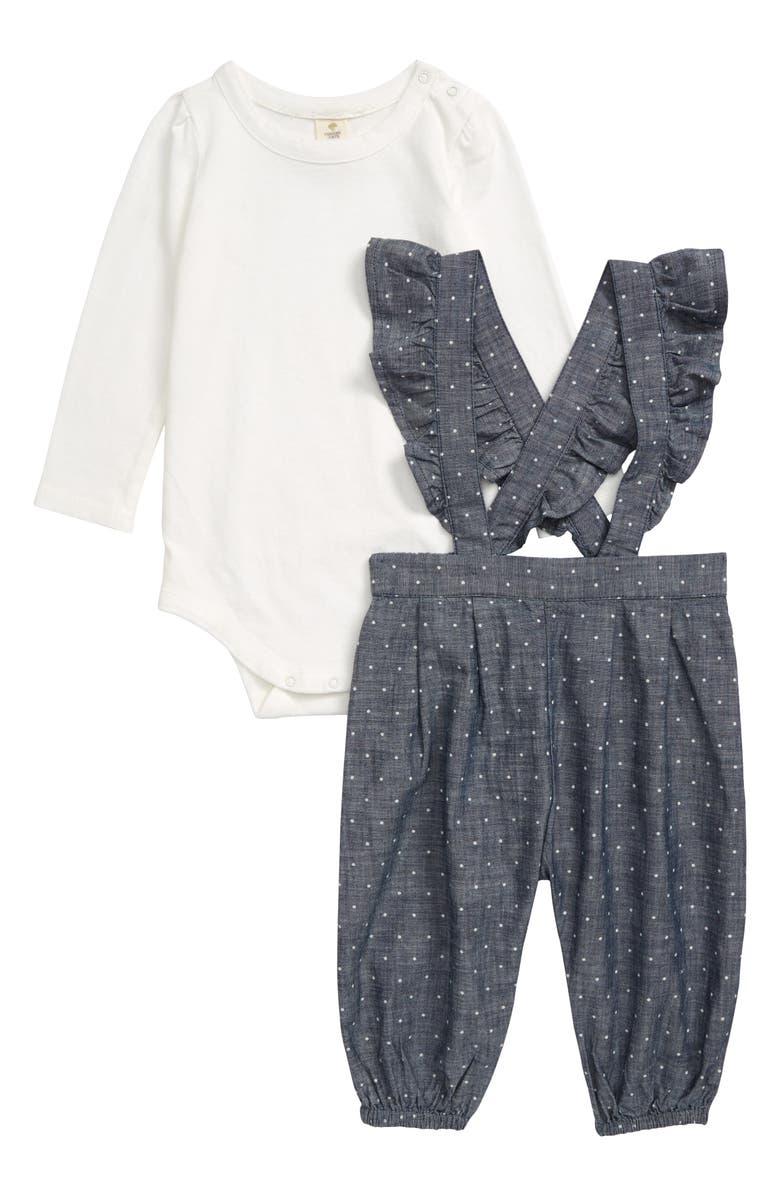 TUCKER + TATE Polka Dot Ruffle Overalls & Bodysuit Set, Main, color, IVORY EGRET- BLUE DOT