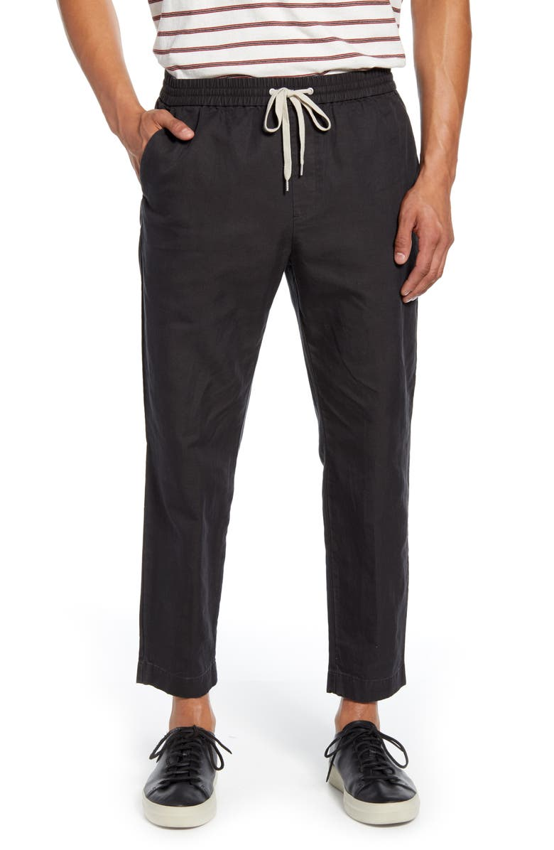 ALLSAINTS Luckett Straight Leg Cotton & Linen Pants, Main, color, WASHED BLACK