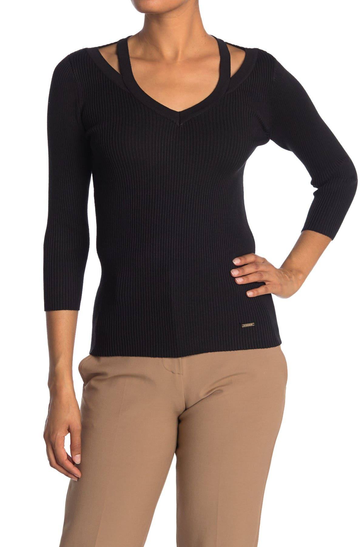 Image of T Tahari 3/4 Sleeve V-Neck Cutout Pullover