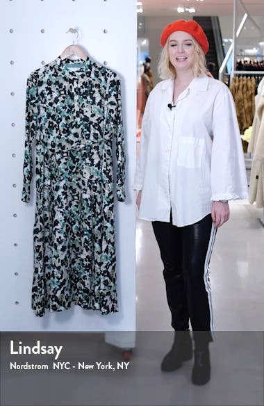 Daflora Floral Long Sleeve Shirtdress, sales video thumbnail