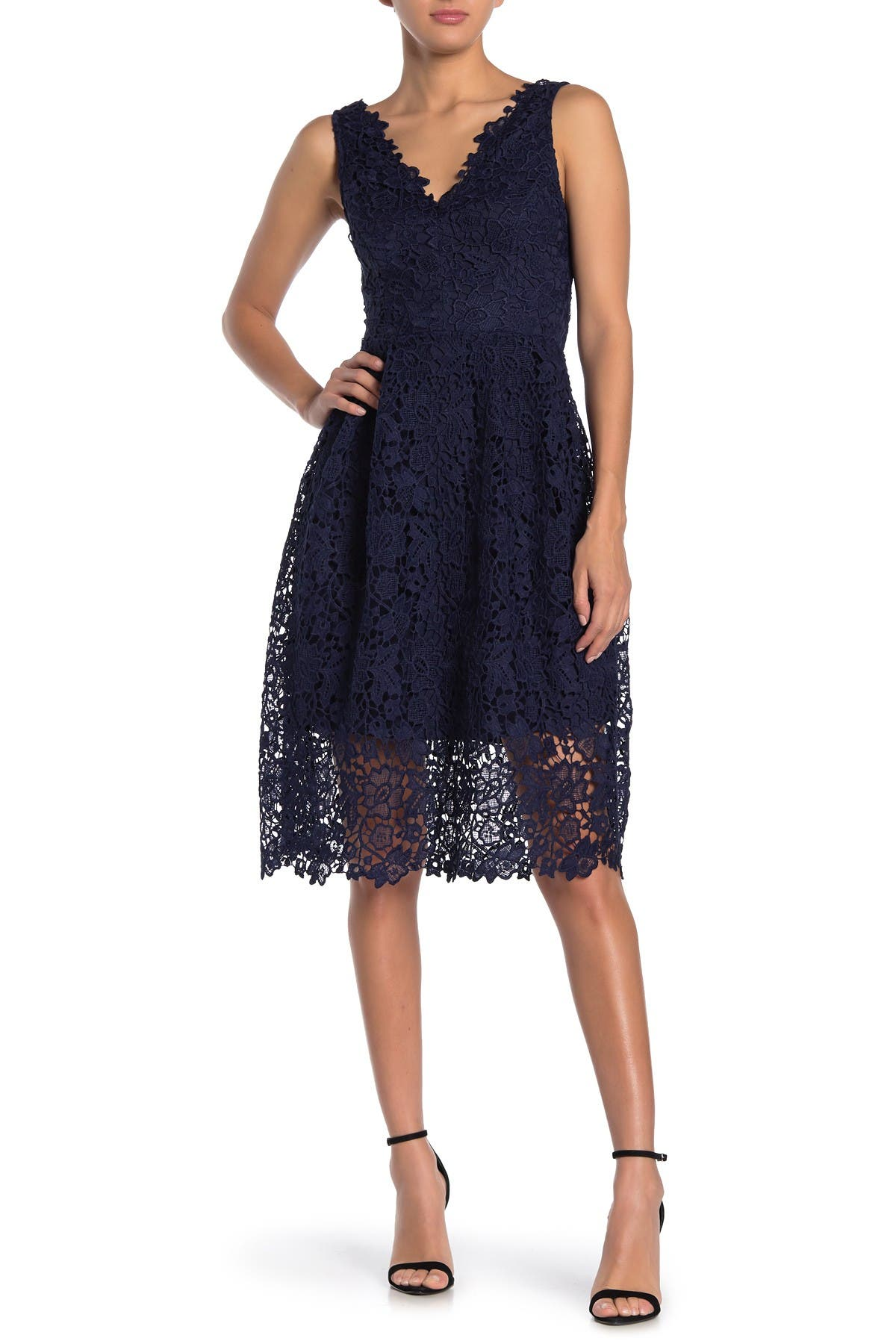 Image of ASTR the Label V-Neck Lace Fit & Flare Dress