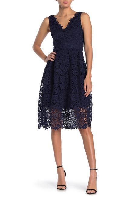 Image of ASTR the Label V-Neck Lace Fit & Flare Dress