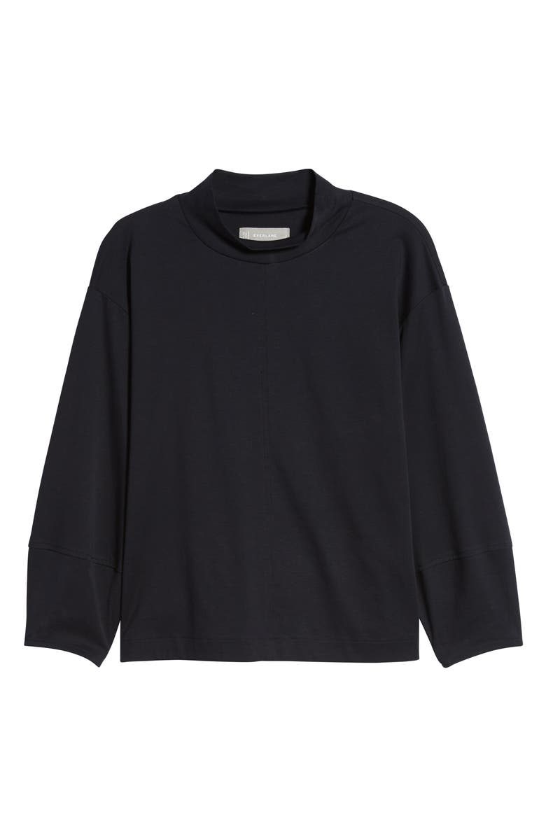 EVERLANE The Luxe Cotton Mock Neck Top, Main, color, BLACK