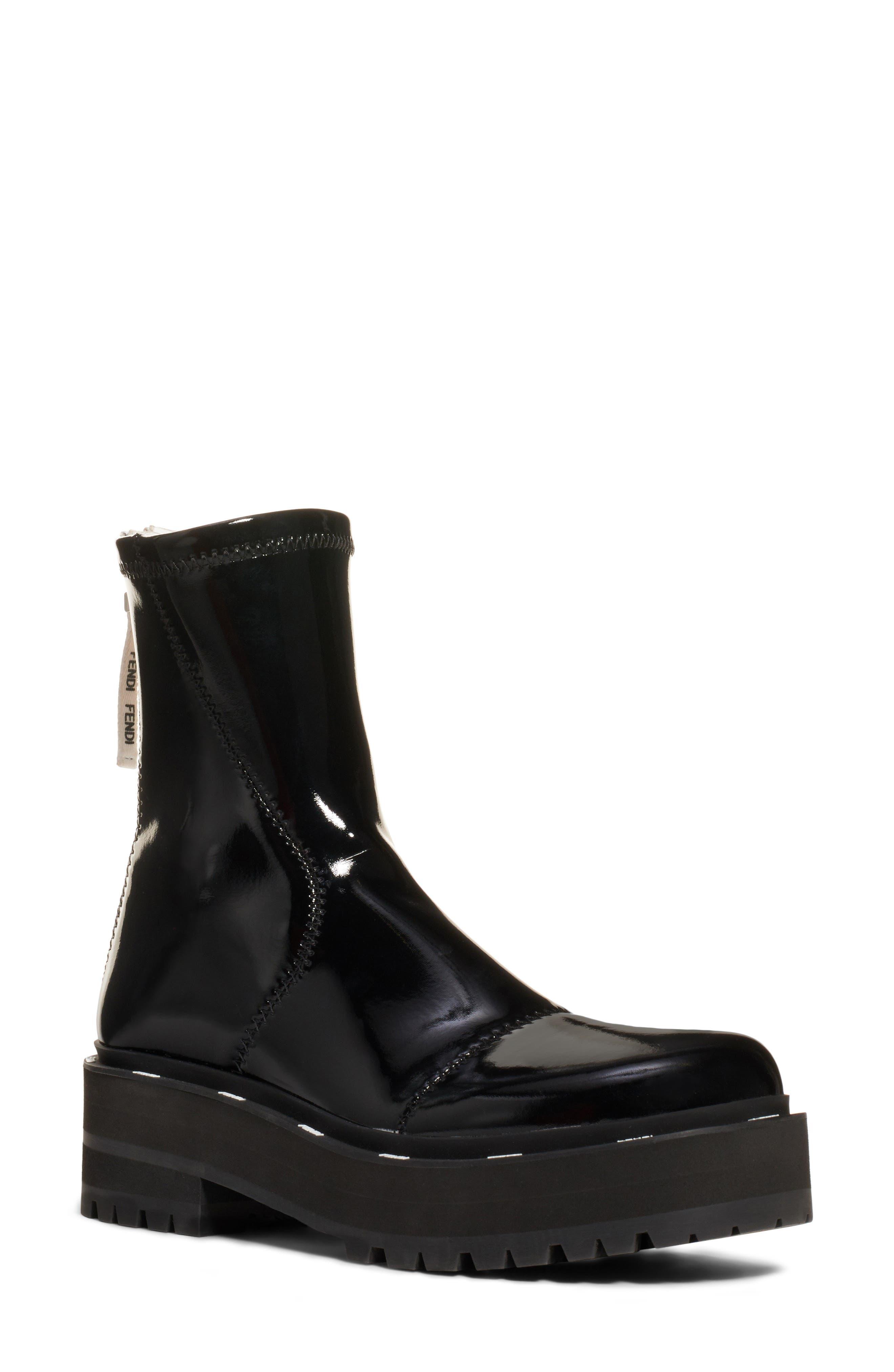 Fendi Boots Zip Patent Combat Boot