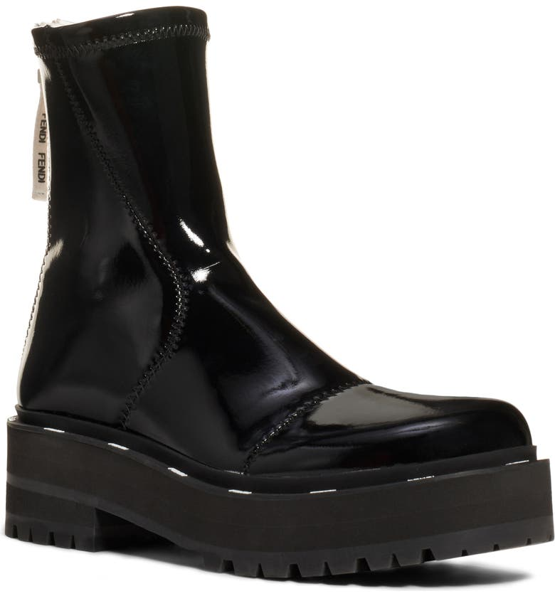 FENDI Zip Patent Combat Boot, Main, color, BLACK
