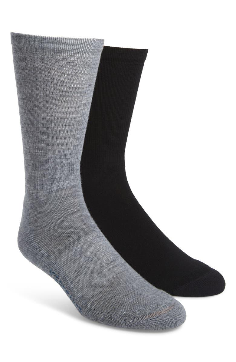 ICEBREAKER Lifestyle 2-Pack Merino Wool Blend Light Crew Socks, Main, color, TWISTER HEATHER/ BLACK