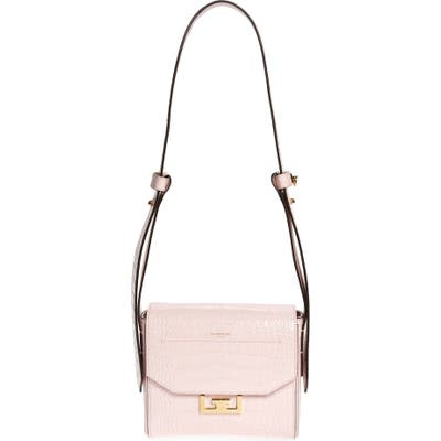 Givenchy Small Eden Croc Embossed Calfskin Top Handle Bag - Pink