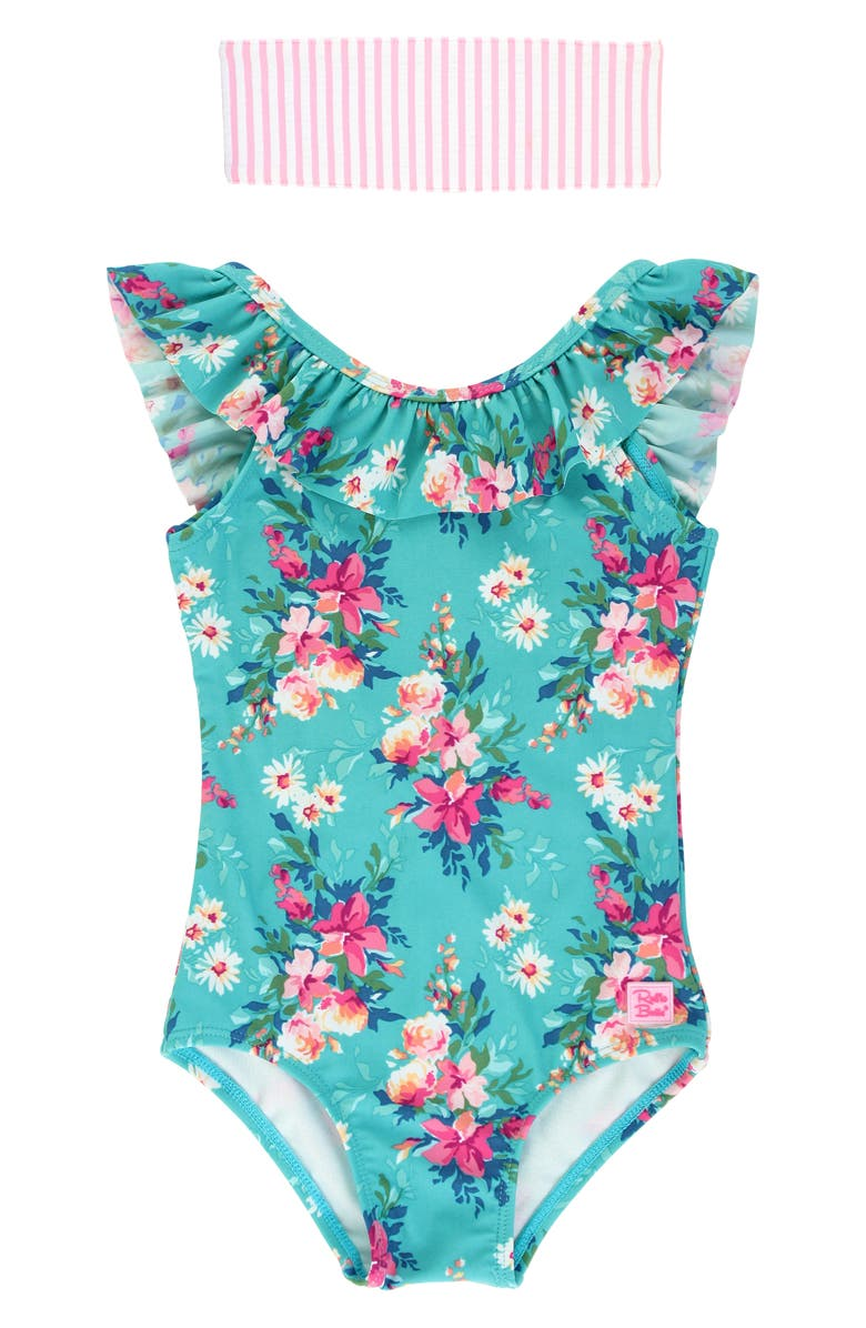 RUFFLEBUTTS Floral Ruffle One-Piece Swimsuit & Head Wrap Set, Main, color, BLUE