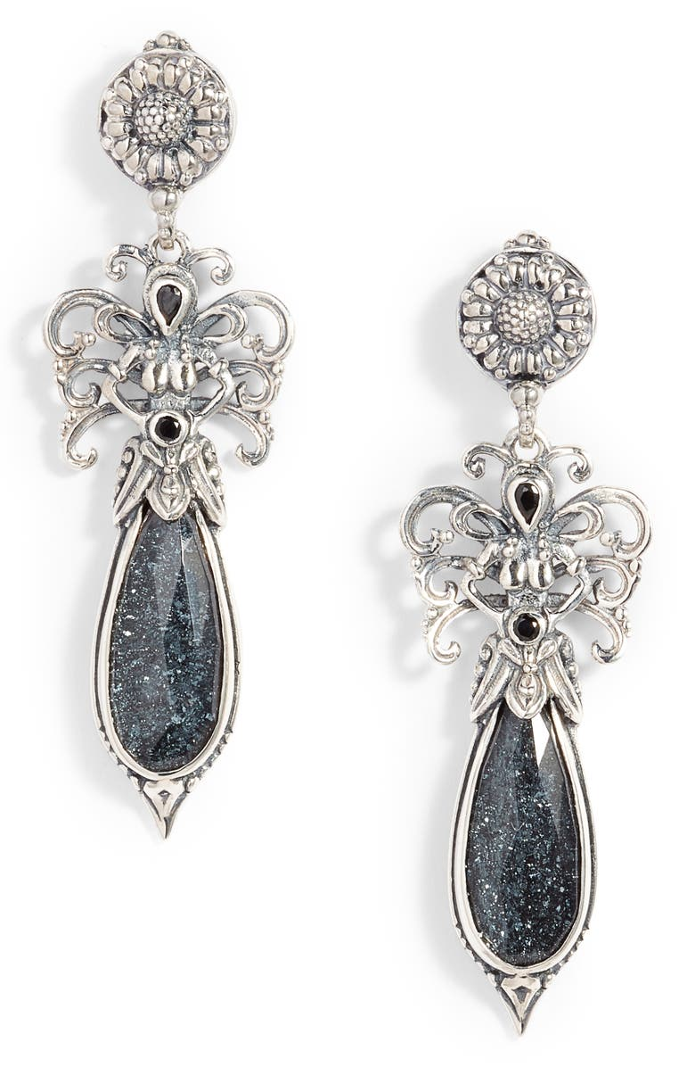 KONSTANTINO Santorini Spinel Drop Earrings, Main, color, SILVER/ HEMATITE