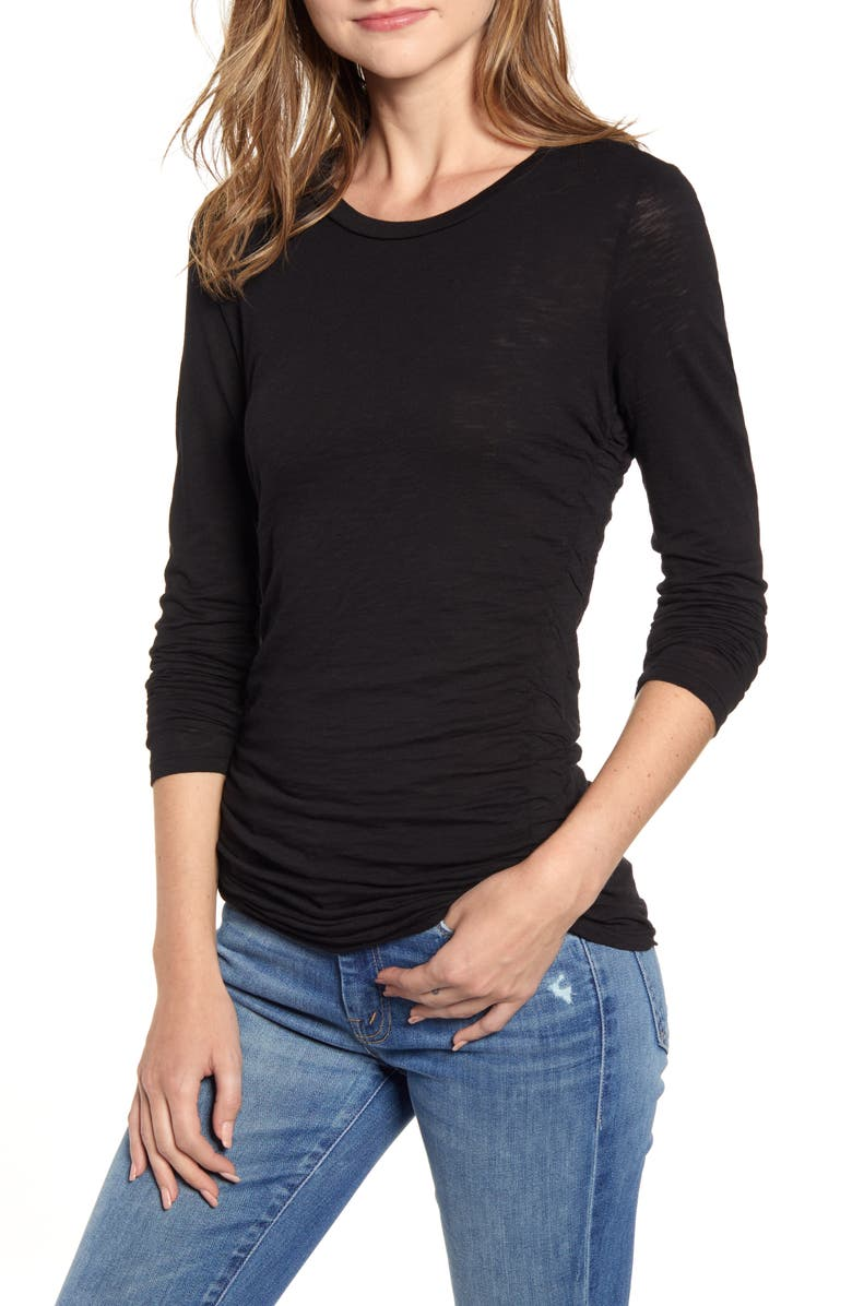 STATESIDE Side Ruched Long Sleeve Cotton Tee, Main, color, BLACK