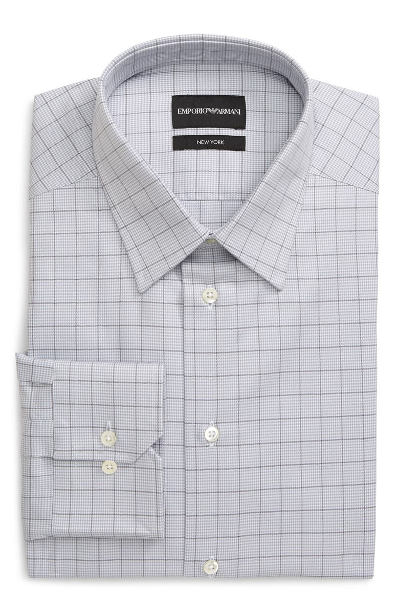 EMPORIO ARMANI Trim Fit Windowpane Dress Shirt, Main, color, 024