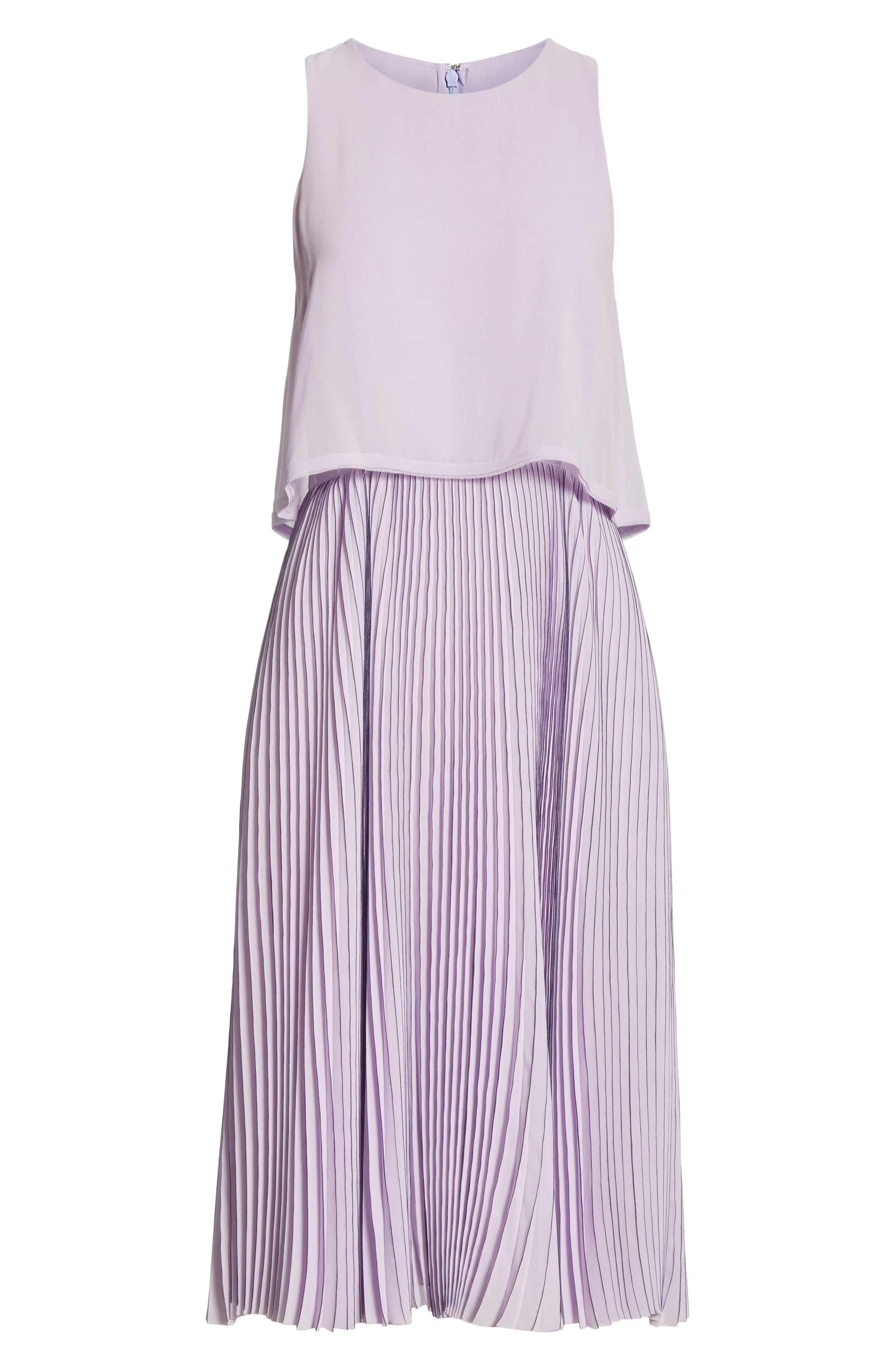 ,                             Pleated Popover Dress,                             Alternate thumbnail 6, color,                             PASTEL MAUVE/ DARK NAVY