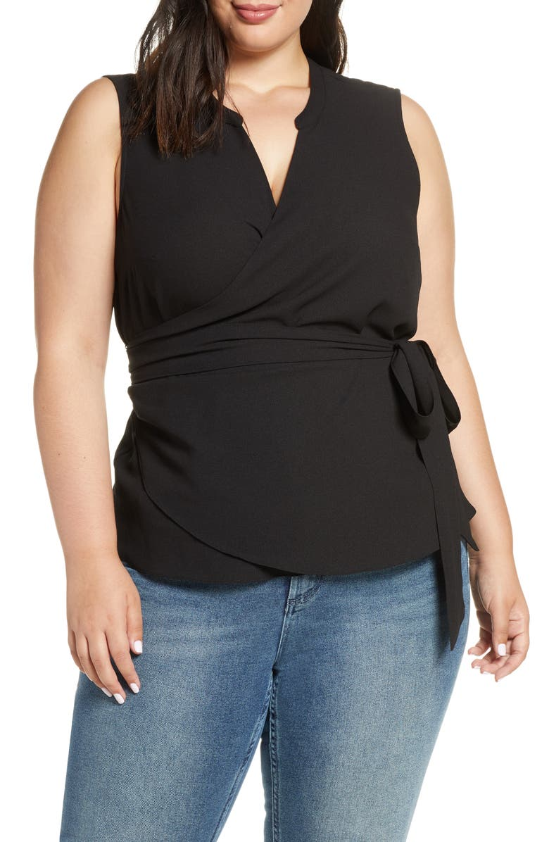 1.STATE Sleeveless Crepe Wrap Top, Main, color, 001