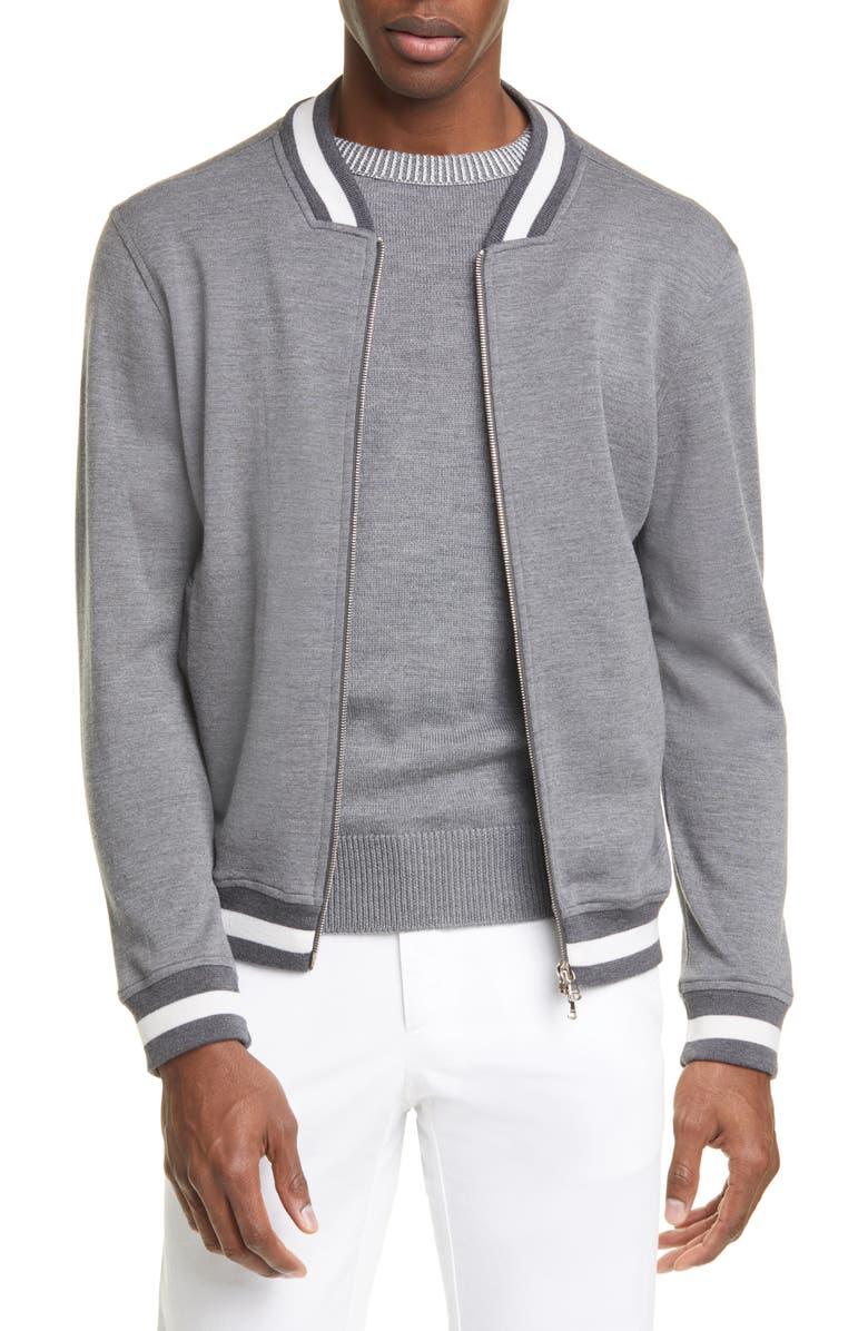 EIDOS Trim Fit Heathered Wool Baseball Jacket, Main, color, GREY