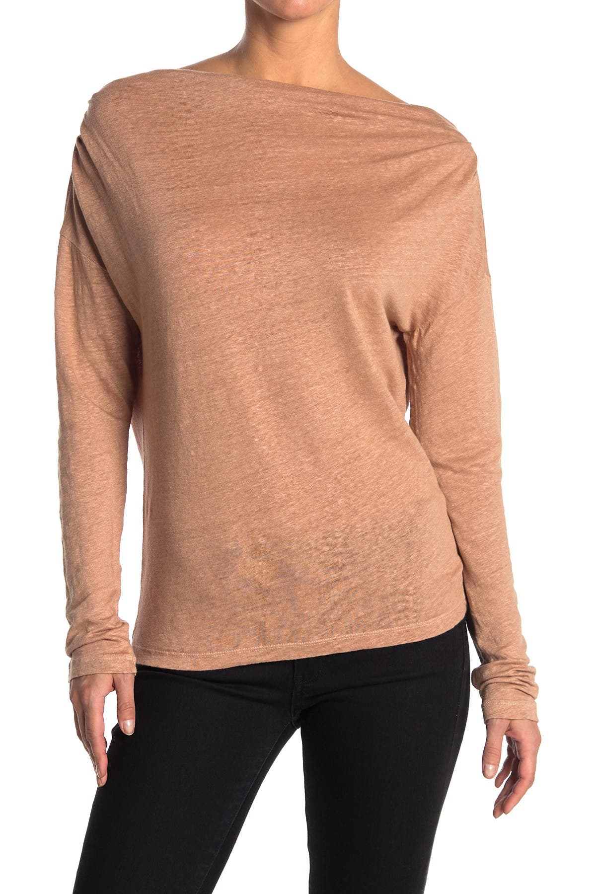 Image of Stateside Linen Jersey Cowl Neck Top