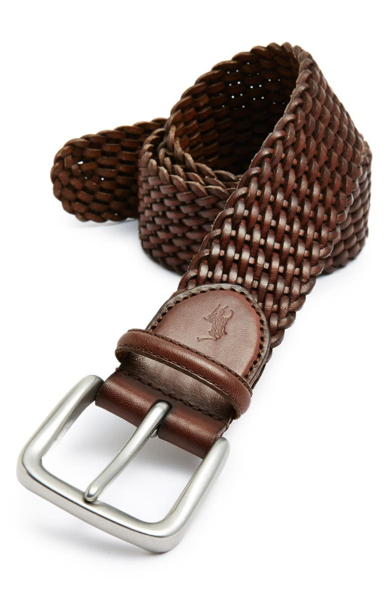POLO RALPH LAUREN Braided Leather Belt, Main, color, 213