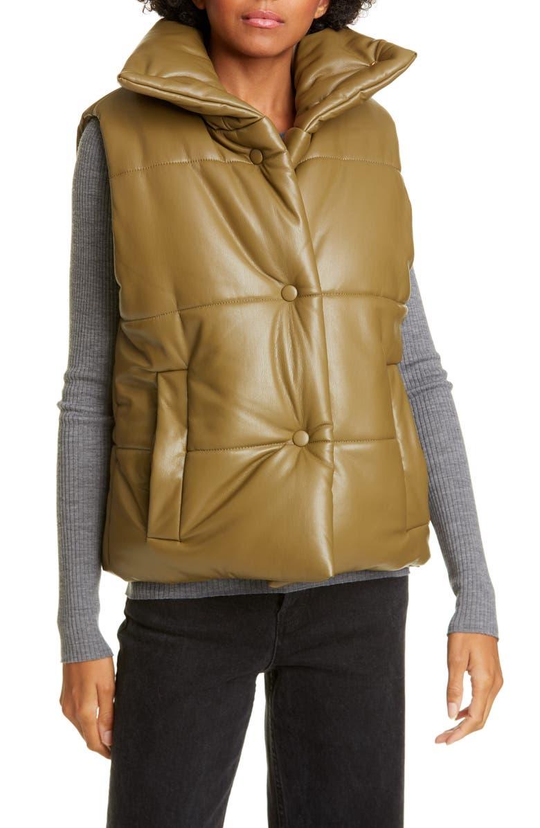 NANUSHKA Vegan Leather Puffer Vest, Main, color, KHAKI