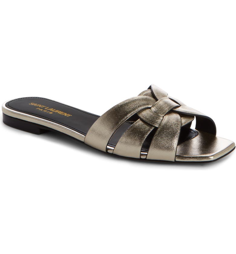 SAINT LAURENT Nu Pieds Strappy Slide Sandal, Main, color, 7100 OR PALE