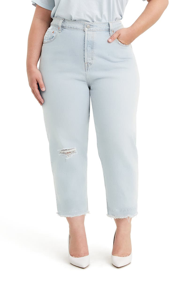 LEVI'S<SUP>®</SUP> 501<sup>®</sup> Ripped High Waist Crop Straight Leg Jeans, Main, color, 450