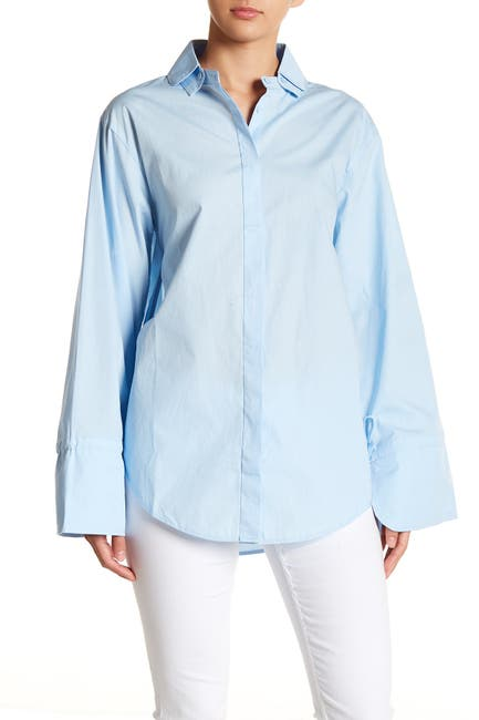 Image of J.O.A. Long Bell Sleeve Button Down Shirt