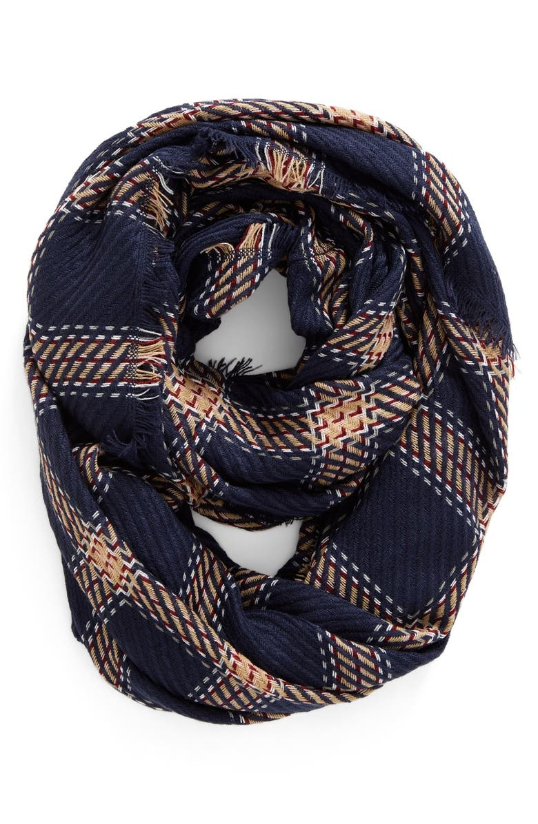 BP. Plaid Knit Infinity Scarf, Main, color, 410