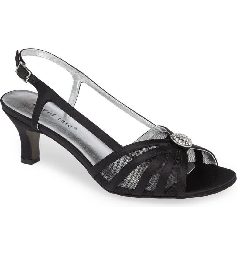 DAVID TATE Cheer Sandal, Main, color, BLACK SATIN
