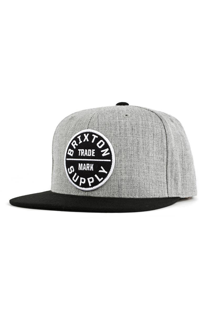 BRIXTON 'Oath III' Snapback Cap, Main, color, HEATHER GREY/BLACK