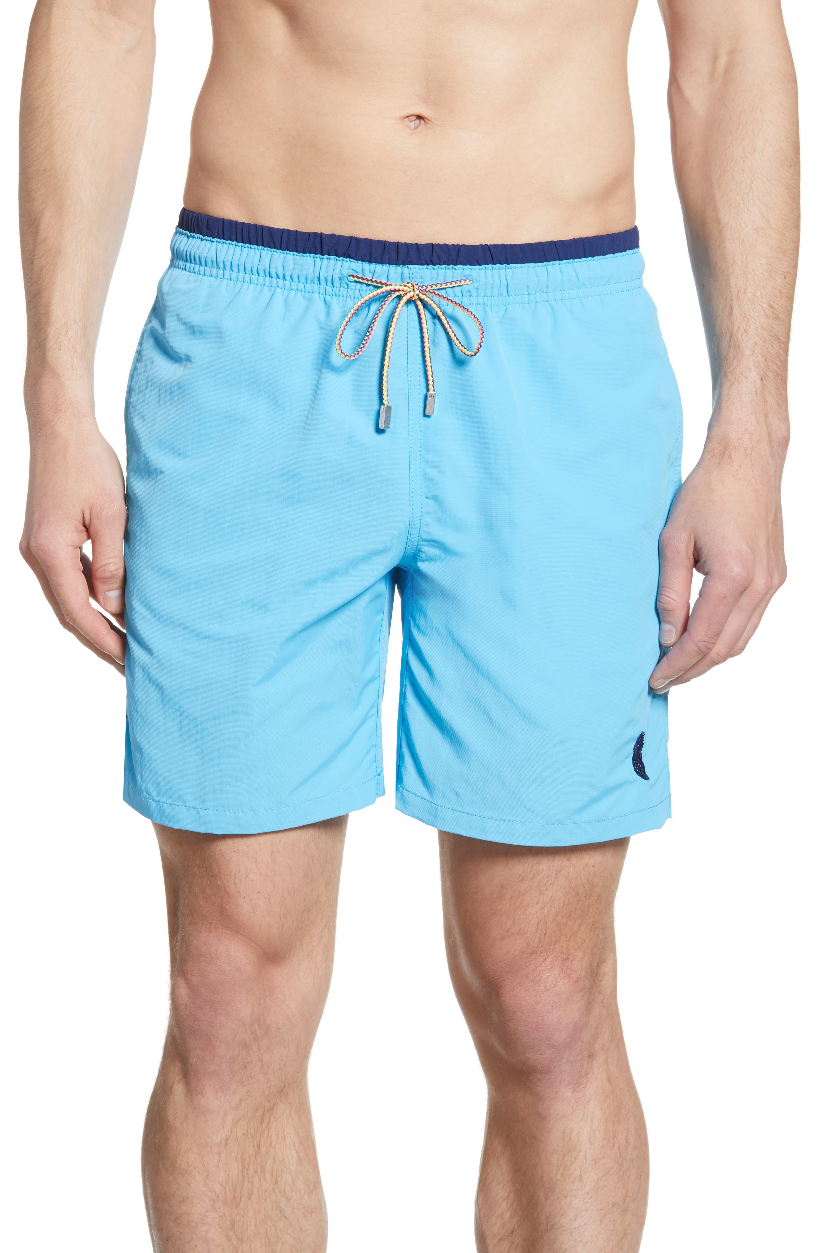 men's bugatchi swim trunks, size small - blue
