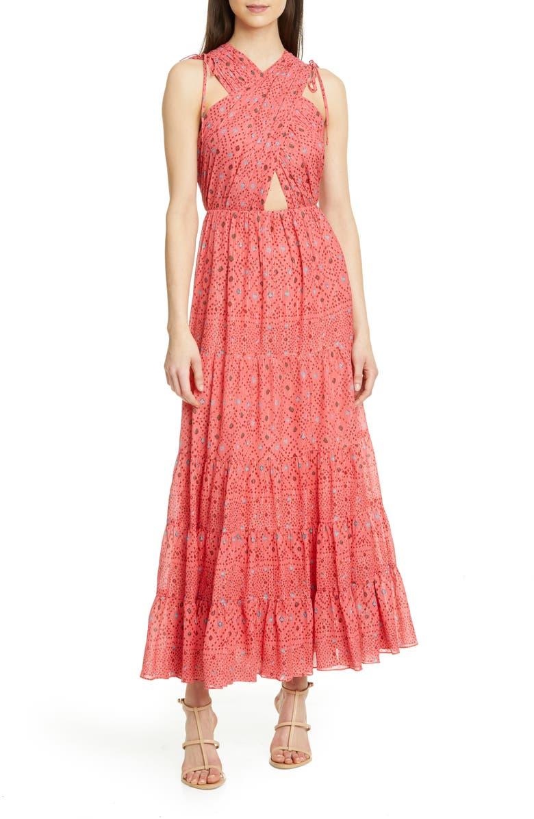 ULLA JOHNSON Karima Metallic Cutout Maxi Dress, Main, color, 950