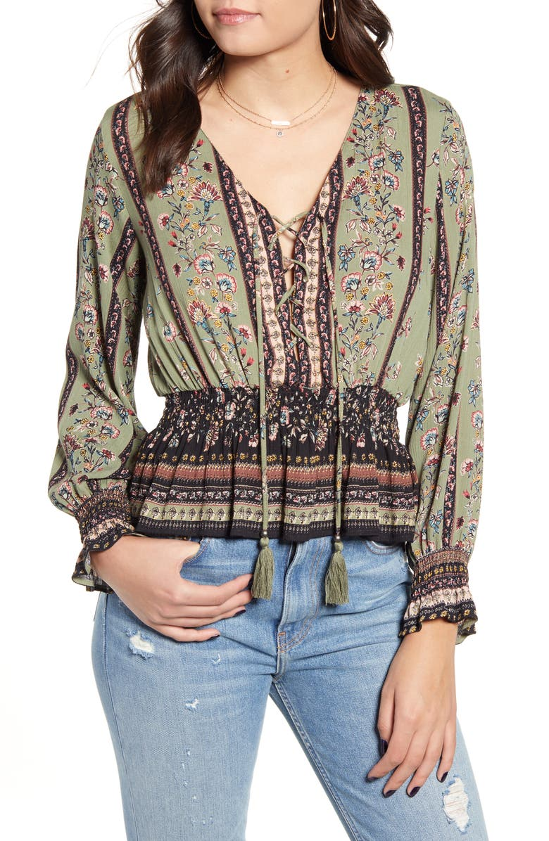 ANGIE Floral Smocked Lace-Up Top, Main, color, OLIVE