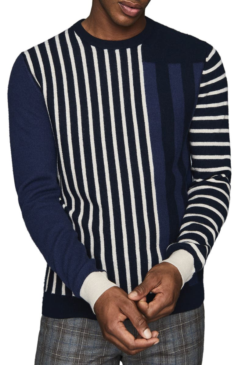 REISS Andy Mixed Stripe Crewneck Sweater, Main, color, BLUE