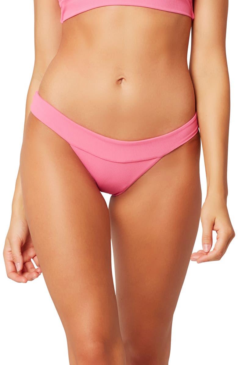 L SPACE Veronica Ribbed Bikini Bottoms, Main, color, BUBBLEGUM PINK