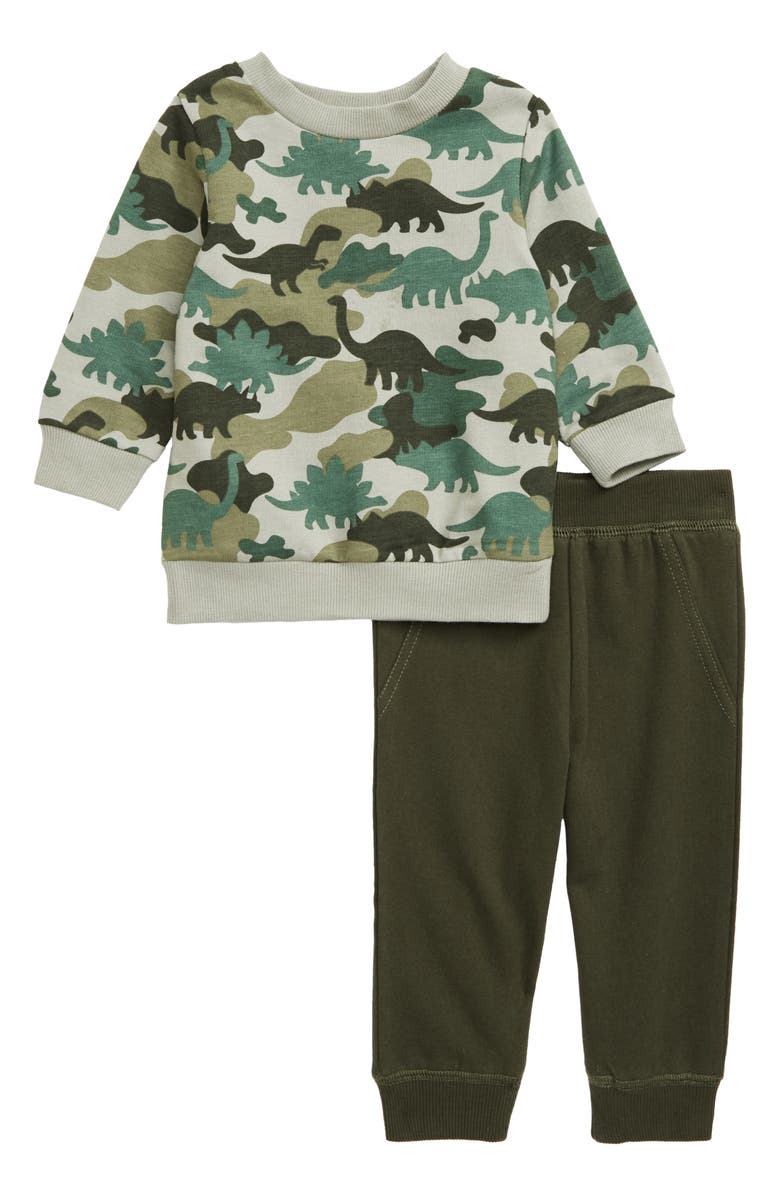 LITTLE ME Dino Camo Sweatshirt & Sweatpants Set, Main, color, GREEN
