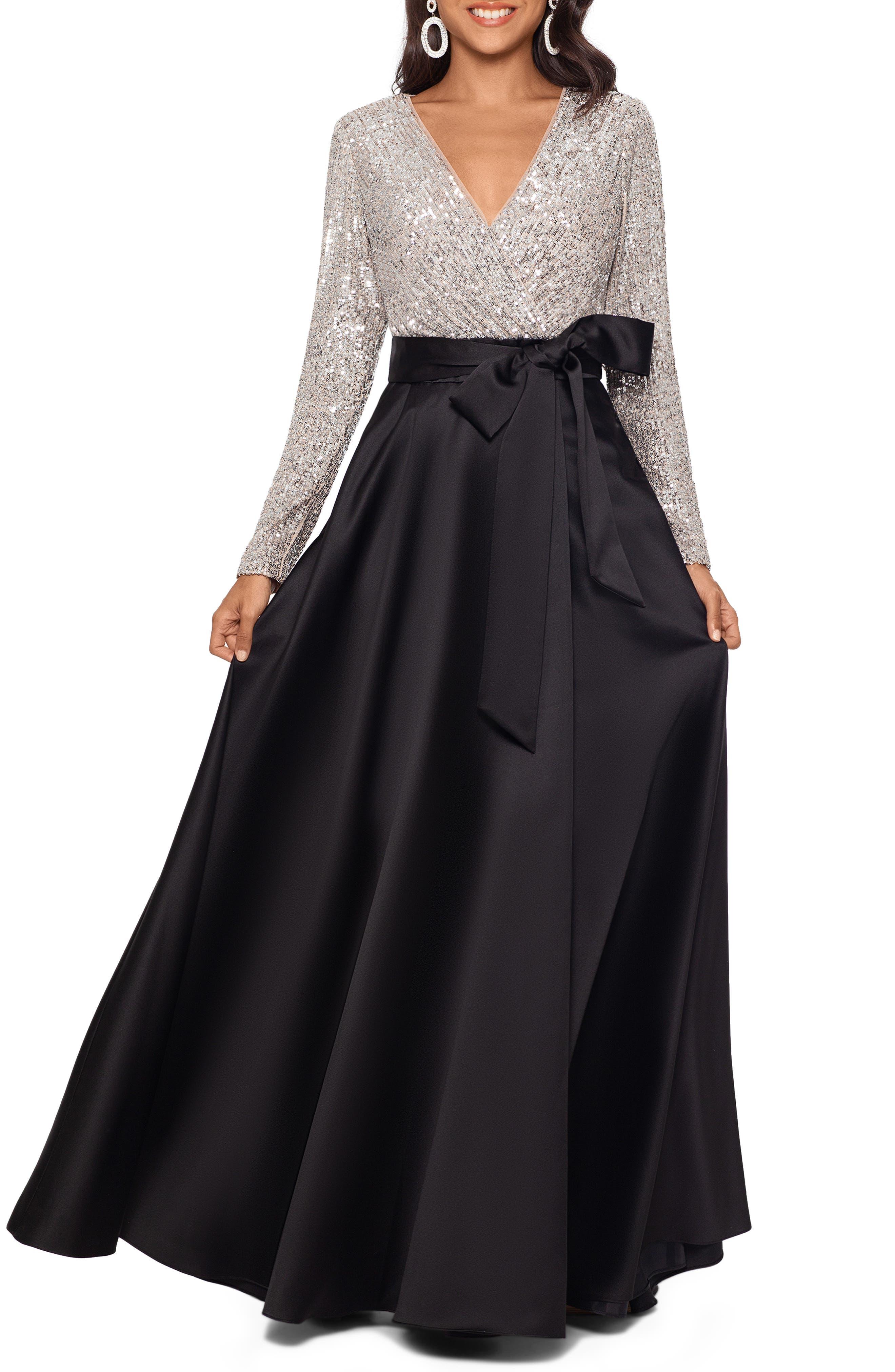 Xscape Long Sleeve Sequin Ballgown
