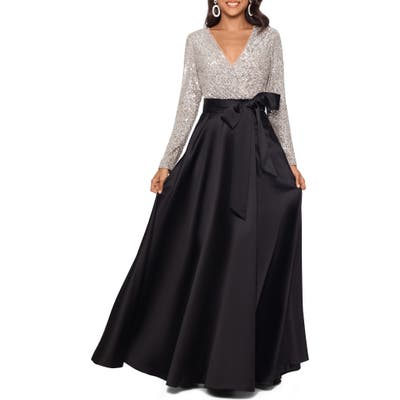 Xscape Long Sleeve Sequin Ballgown, Black