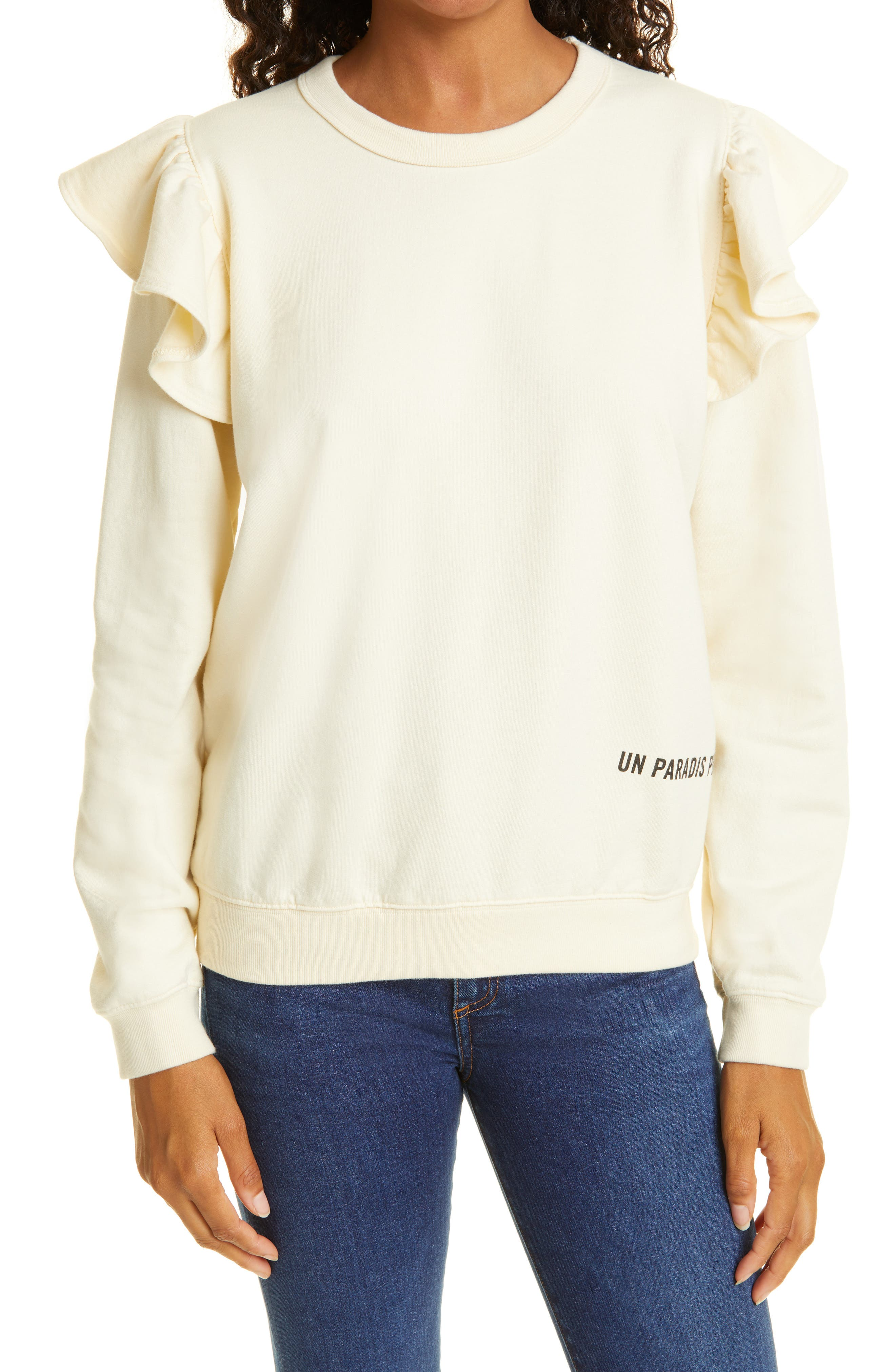 Ruffle Cotton Sweatshirt